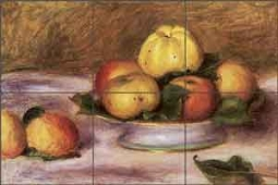 Apples on a Plate by Pierre Auguste Renoir Ceramic Tile Mural - PAR003