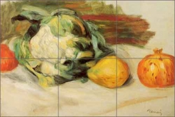 Cauliflower and Pomegranates by Pierre Auguste Renoir Ceramic Tile Mural - PAR004