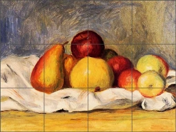 Pears and Apples by Pierre Auguste Renior Ceramic Tile Mural PAR005