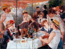 Luncheon of the Boat Party Pierre Auguste Renoir Ceramic Tile Mural