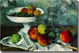 "Cezanne Fruit Still Life Ceramic Tile Mural 18"" x 12"" - PC001"