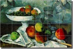 "Cezanne Fruit Still Life Ceramic Tile Mural 25.5"" x 17"" - PC001"