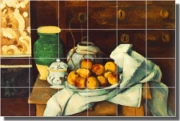"Still Life with Commode by Paul Cezanne - Artwork On Tile Ceramic Mural 17"" x 25.5"" Kitchen Backspla"