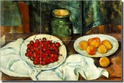"Cezanne Fruit Cherry Ceramic Tile Mural 18"" x 12"" - PC004"