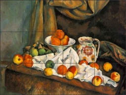 Compotier, Pitcher and Fruit by Paul Cezanne Ceramic Tile Mural - PC007