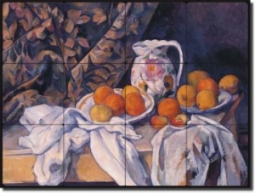 "Still Life With a Curtain by Paul Cezanne - Fruit Still Life Tumbled Marble Tile Mural 16"" x 24"" Kit"
