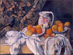 Still Life with a Curtain by Paul Cezanne Ceramic Tile Mural PC012