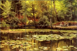 Waterlilies by Peder Mork Monsted Ceramic Tile Mural - PMM002