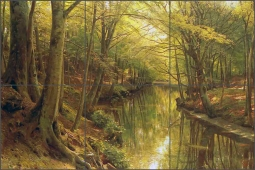 A Woodland Stream by Peder Mork Monsted Ceramic Tile Mural PMM010