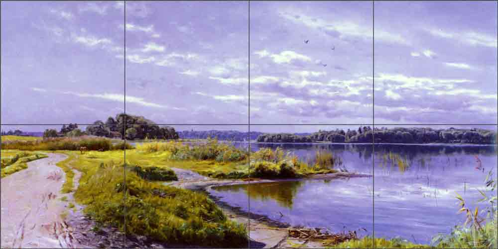 River Landscape 2 by Peder Mork Monsted Ceramic Tile Mural - PMM012