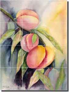 "Neufeld Fruit Peaches Ceramic Tile Mural 18"" x 24"" - PNA005"