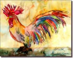 "Neufeld Abstract Rooster Ceramic Accent Tile 10"" x 8"" - PNA017AT"