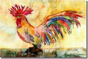 "Neufeld Abstract Rooster Glass Tile Mural 36"" x 24"" - PNA017"