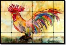 "Neufeld Abstract Rooster Tumbled Marble Tile Mural 24"" x 16"" - PNA017"