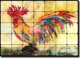 "Neufeld Abstract Rooster Tumbled Marble Tile Mural 28"" x 20"" - PNA017"