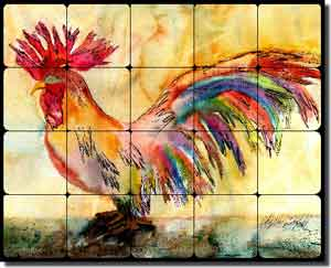 "Neufeld Abstract Rooster Tumbled Marble Tile Mural 30"" x 24"" - PNA017"