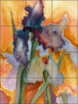 Abstract Iris by Phyllis Neufeld Ceramic Tile Mural - PNA018