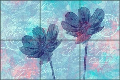 Summer Flower Blue by Andrea Haase Ceramic Tile Mural - POV-AH009