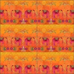 Exotic Elephants Repeat by Andrea Haase Ceramic Tile Mural POV-AH012