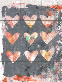 Heart Print Pink by Andrea Haase Ceramic Tile Mural - POV-AH013