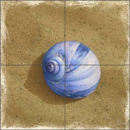 Blue Shell on Brown Beach by Brian Cody Ceramic Tile Mural POV-BCA001