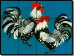 "Siebert Rooster Chicken Tumbled Marble Tile Mural 24"" x 18"" - POV-BSA002"