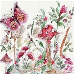 Toadstool by Claire Louise Ceramic Tile Mural - POV-CH008