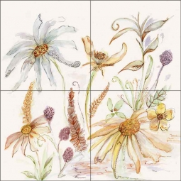 Daisy Chain by Claire Louise Ceramic Tile Mural - POV-CH009