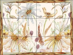 Framed Daisies by Claire Louise Ceramic Tile Mural - POV-CH012