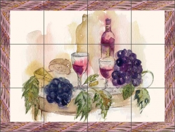 Framed Wine by Claire Louise Ceramic Tile Mural - POV-CH013