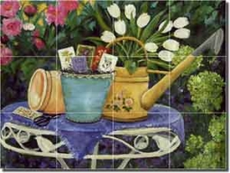 "Walker Garden Flowers  Ceramic Tile Mural 17"" x 12.75"" - POV-CWA002"
