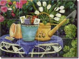 "Walker Garden Flowers Glass Tile Mural 24"" x 18"" - POV-CWA002"