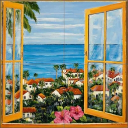 View from Window by Carol Walker Ceramic Tile Mural POV-CWA005