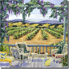 "Walker Vineyard Landscape Glass Tile Mural 18"" x 18"" - POV-CWA006"