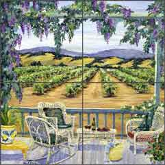 "Walker Vineyard Landscape Floor Tile Mural 16"" x 16"" - POV-CWA006"
