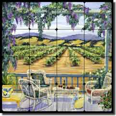"Walker Vineyard Landscape Tumbled Marble Tile Mural 16"" x 16"" - POV-CWA006"