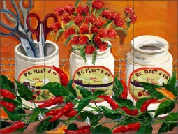 Pepper Pots by Carol Walker Ceramic Tile Mural POV-CWA011