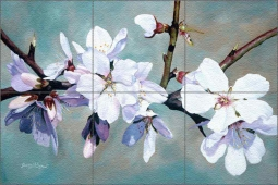 Almond Blossoms 1 by Donna Wayman Glass Tile Mural - POV-DW001
