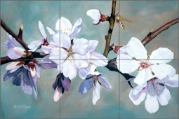 Almond Blossoms 1 by Donna Wayman Ceramic Tile Mural - POV-DW001