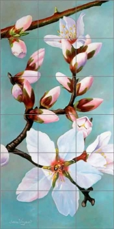 Almond Blossoms 3 by Donna Wayman Ceramic Tile Mural