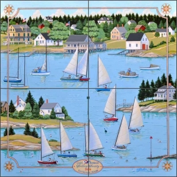 Southport Sailing Society by Ed Parker Ceramic Tile Mural - POV-EP005