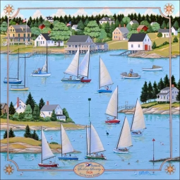 Southport Sailing Society by Ed Parker Ceramic Accent & Decor Tile - POV-EP005AT