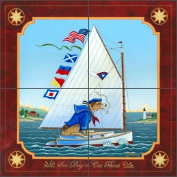 Sea Dog in Cat Boat by Ed Parker Ceramic Tile Mural - POV-EP006