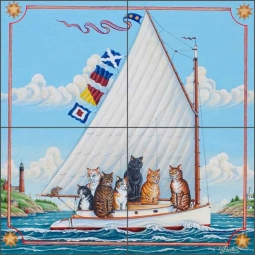 Catboat by Ed Parker Ceramic Tile Mural - POV-EP007