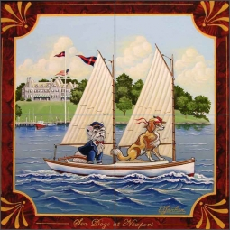 Sea Dogs at Newport by Ed Parker Ceramic Tile Mural - POV-EP008