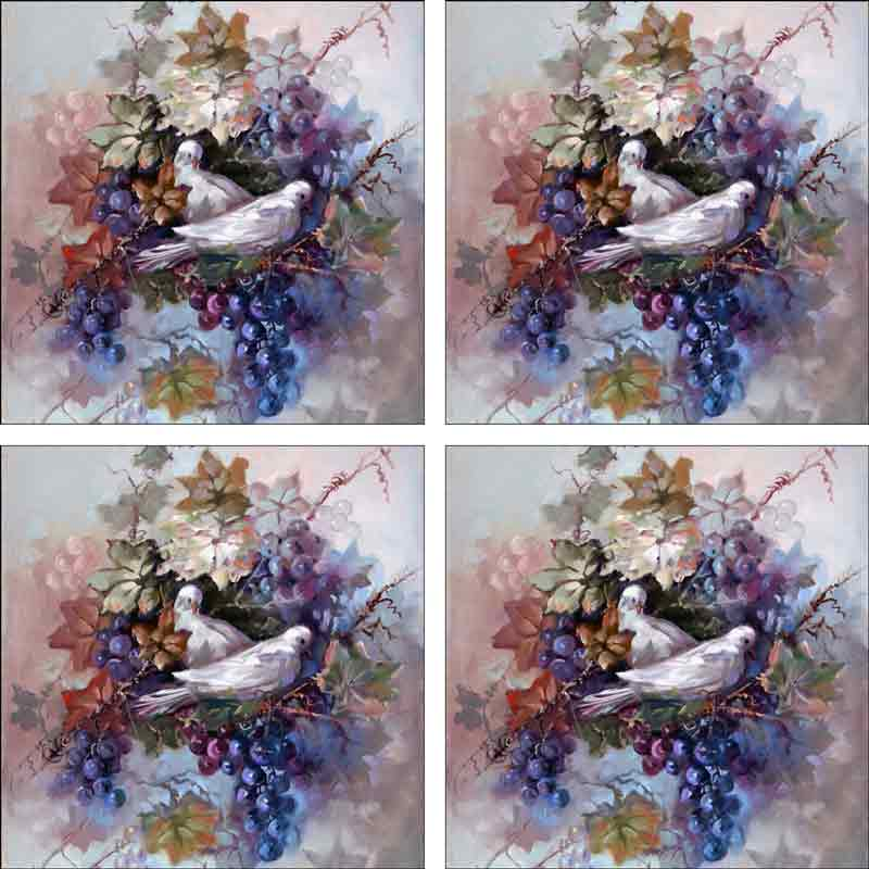 Doves in Grapevine by Fernie Parker Taite Ceramic Accent & Decor Tile Set - POV-FPT001AT