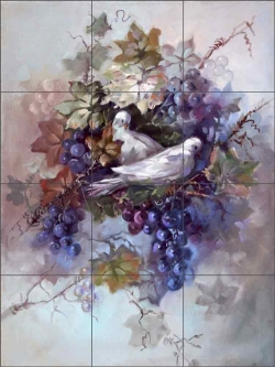 Doves in Grapevine by Fernie Parker Taite Ceramic Tile Mural - POV-FPT001
