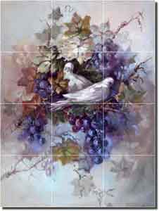 "Taite Grape Dove Glass Tile Mural 18"" x 24"" - POV-FPT001"