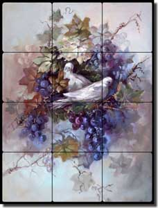"Taite Grapes Doves Tumbled Marble Tile Mural 12"" x 16"" - POV-FPT001"