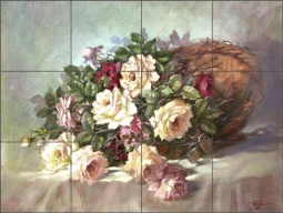 Roses in a Wicker Basket by Fernie Parker Taite Ceramic Tile Mural - POV-FPT002
